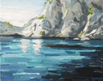 "Greek Isle. Original  acrylic painting on canvas. Yvonne Wagner. Greece. Greek landscape. Seascape. 16 x 20 "". Free Shipping to USA."