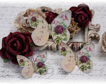 Farfalla del Fiore Butterfly Embellishment Die Cuts for Scrapbooking or Cardmaking, Tag Art,  Mixed Media, Mini Albums