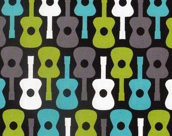 1/2 yard - Groovy guitar in Lagoon, Michael Miller fabrics