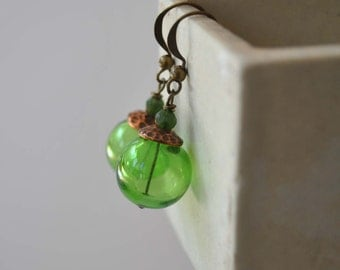 Green  Earrings, Hollow Blown Glass Earrings, Light Weight Earrings, Dangle Earrings, Glass Bead Earrings