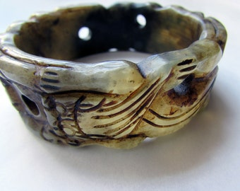 Vintage Abstract Carved Stone Chunky Bangle Beige and Brown