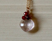 Rose Quartz Garnet and Gold Fill Necklace, 18 inches, Elegant, Charm, Drop, Dangle