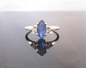 Blue Marquise Sapphire Accent Ring