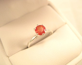 Small Orange Red Sapphire Solitaire Ring