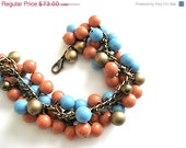 On Sale Swarovski Blue and Tangerine Tango Gold Pearl Charm Bracelet
