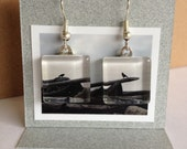 Glass Tile Photo Earrings - Two Crows