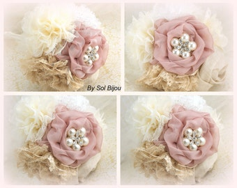 Brooch Bouquets, Bridesmaids, Wedding, Maid of Honor, Dusty Rose, Cream,Champagne, Tan, Ivory, Lace, Linen, Crystals, Pearls, Elegant