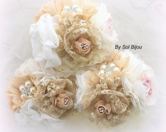 Bridesmaids Bouquets, Brooch Bouquets, Tan, Beige, Champagne, Blush, Ivory, Vintage Style, Jeweled, Maid of Honor, Lace, Crystals, Pearls