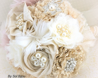 Brooch Bouquet, Ivory, Champagne, Tan, Beige, Blush, Feather Bouquet, Wedding, Shabby Chic, Rustic, Linen, Lace, Pearls, Burlap, Vintage