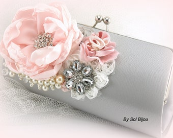 Silver Clutch, Gray, Pink, White, Bridal, Handbag, Bag, Purse, Mother of the Bride, Satin, Pearls, Crystals, Brooch, Elegant Wedding