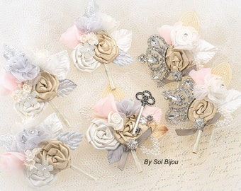 Boutonnieres, Champagne, Silver, Tan, Beige, Ivory, Pink, Gray, Corsages, Groomsmen, Skeleton Key, Mother of the Bride, Elegant Wedding