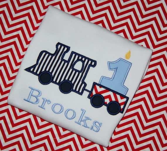 Birthday Train T-shirt Boy or Girl, Navy, Light Blue, Red Train Birthday Tee Shirt