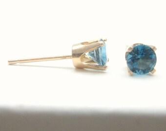 London Blue Topaz 14K Gold Stud Earrings - Gold Earrings - 3 mm 4 mm 5 mm - Post Earrings - Blue Topaz Earrings - Birthstone Earrings