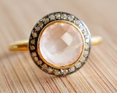 Glowing Pink Rose Quartz Ring - with Pave Diamonds - Valentine's Day Ring, Gifts for Her