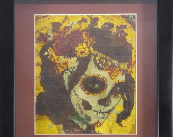 Sugar Skull Lady Day of the Dead counted Cross Stitch Art framed behind glass