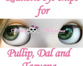 New Soft Resin OOAK REALISTIC custom Pullip, Dal, Taeyang eye chips set D17, by Ana Karina. UV laminated