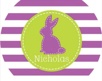 Personalized Melamine Plate-Bunny Stitch Purple and Green