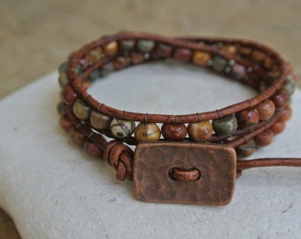 Abundance Jasper Beaded Leather Wrap Bracelet