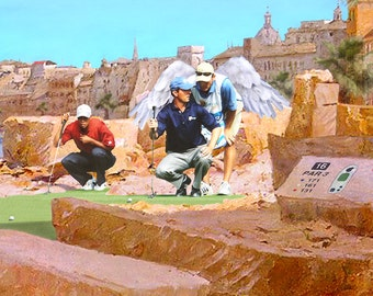 FREE SHIPPING in the USA and Canada! - Play It Where It Lies -- by Victor Bosson, golf, angel, humour, art print