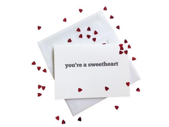Confetti Sweetheart letterpress card - single
