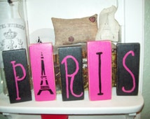 Hot pink and black PARIS blocks Paris decor,French country decor,shabby chic,Paris bedroom decor,French decor,Paris bathroom
