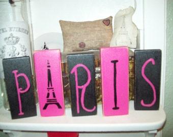 Hot pink and black PARIS letter blocks Paris decor,Paris party decor,Paris wedding decor,Paris theme,Paris wedding shower,French decor