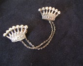 Super Sweet Sterling Silver 1950's Crown Sweater Pin Closure with Two Dainty Chains Rockabilly Atomic
