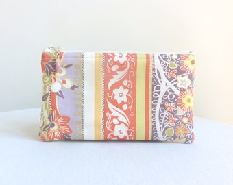 Apricot, Lilac & Yellow Zippered Bag / Beaded Pull - READY TO SHIP
