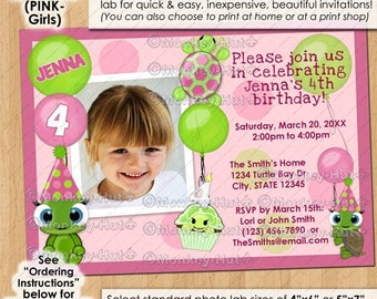 Girl Pink Turtle Birthday invitations / girls turtles party cupcake balloons PERSONALIZED DIGITAL INVITATION / Design# idtu-0113B