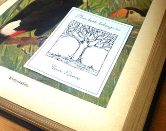 Ex Libris Tree II 25 Personalized Booklabels This book belongs to Bookplates