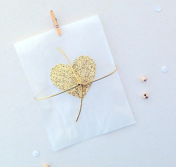 Wedding favor bags, treat bags, gold hearts, glassine bags, wedding ...