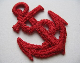 red anchor appliqué nautical patch embroidered trim vintage jacket patch new old stock