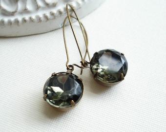 Black Diamond Dangle Long Earrings In Antiqued Brass. Dark Grey Earrings Vintage Rhinestone Jewelry Vintage Style Gift For Her Under 25