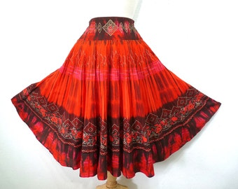 Vintage Circle Skirt Cotton Red Gold Floral print X Small Small