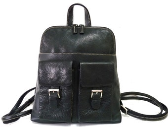 Vintage Black  Backpack Genuine Leather Organizer Hobo Satchel Backpack