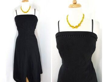 Vintage 70s Handkerchief Dress // Black linen Lace embroidered dress // Nikki Valentine Bohemian Summer dress S/M