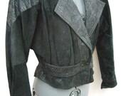 Vintage Black Leather Cropped Bomber Jacket // Motorcycle Jacket