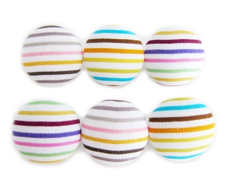 Sewing Buttons / Fabric Buttons - 6 Medium Buttons - Psychedelic Stripes