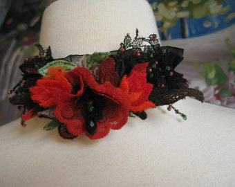 Vintage Black Lace Orange & Green Lace Floral Necklace Choker (Made To Order)