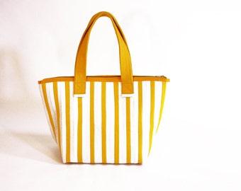White Karate Belt Handbag Eco Friendly Gold Striped Sustainable Fashion Structured Tote Women Men High Quality Vegan Leather Alternative