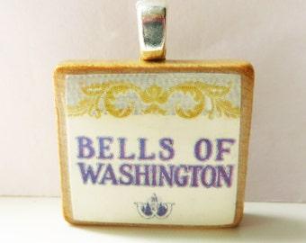 Bells of Washington  - vintage UW sheet music Scrabble tile pendant for University of Washington