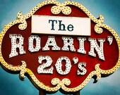 Route 66 Art Print - retro sign photograph, whimsical art - crimson red, peacock blue, retro art print, vintage Route 66 - The Roarin 20s