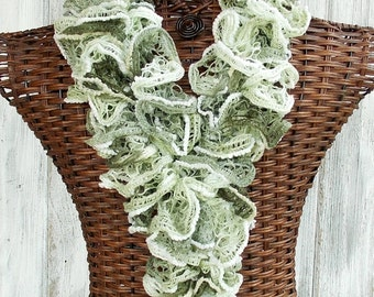 SALE Ruffle scarf knitted in green and white with poms, fashion accessory for women