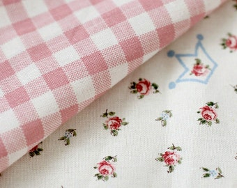 PINK Checks and Floral on Linen blended, U7267