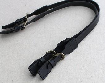 Genuine Black Leather Strap 20mm Width, 63cm, A Pair, U151