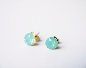 Sea Foam Green Swarovski Crystal Stud Earrings Pacific Opal Opalescent Dainty Gold Silver