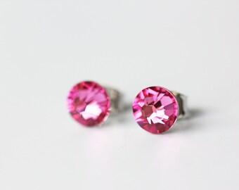 Pink Swarovski Crystal Titanium Earrings Rose Pink Crystal Dainty Everyday Earrings