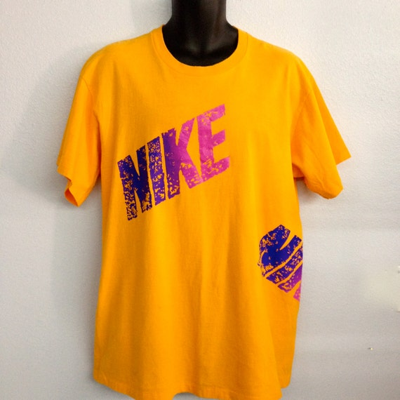 Items similar to nike bright orange t shirt with purple for Bright purple t shirt