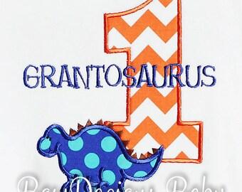Baby Boy Dinosaur Birthday Outfit, Dinosaur Birthday Shirt, 1st Birthday Dinosaur Shirt, Birthday Shirt, Any Age, You Pick Fabrics and Font