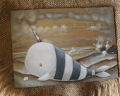 10% OFF NARWHAL - fantasy fairy lowbrow gothic original painting of a beached narwhal